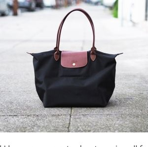Longchamp authentic le pliage tote bag black.